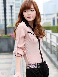 33ea193e43a9e Modern Style Women s Spring Shirt With Color Block Long Sleeve Design