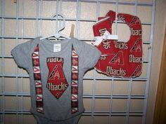 Baby Boy Dbacks Onesie Tie Suspenders Bib Burp On by sososophie