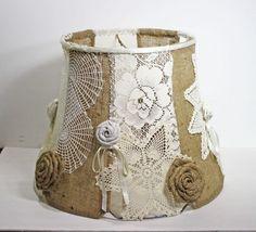 Shabby Chic Burlap Lamp Shade | Large Shabby Handmade Lampshade Vintage Doilies & Burlap OOAK ...