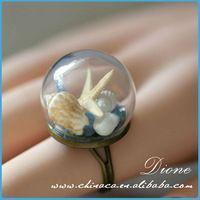Glass Globe Cocktail Ring Metallic Beads Snow Globe
