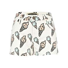 white ice cream print denim shorts (110 BRL) ❤ liked on Polyvore featuring shorts, bottoms, summer shorts, print shorts, cream shorts, short jean shorts and river island