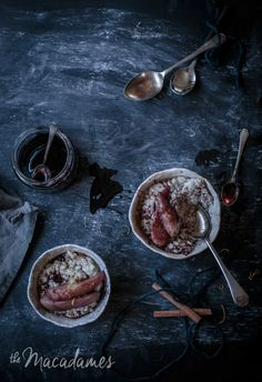 Vanilla bean and coconut rice pudding with spiked poached pears. Creamy rice pudding infused with cinnamon and vanilla bean topped with poached pears and drizzled with red wine syrup. A refined sugar free, vegan and gluten free decadent breakfast recipe that is winter in a bowl! | Anisa Sabet | The Macadames