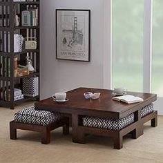 VeroniQ Trends – Natural Finish Coffee Table Set with 4 STOOLS and 4 Cushions Wood in Walnut Finish - Interior Decoration Accessories coffee tables Living Room Table, House Interior, Center Table Living Room, Indian Home Decor, Living Room Sofa Design, House Interior Decor, Centre Table Living Room, Home Decor Furniture, Furniture