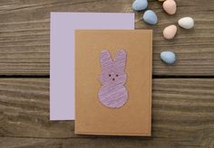 Easter Card PEEP Embroidered Hand Stitched Purple