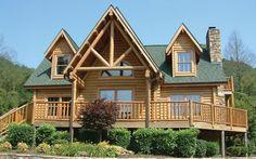 design log homes with wrap around porches | log cabin home with wrap-around porch