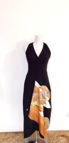KIMONO dress vintage TOMESODE black formal kimono by Shantique, $1280.00