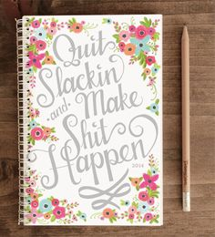 2014 12-Month Weekly Planner with Back Pocket – Quit Slackin' White