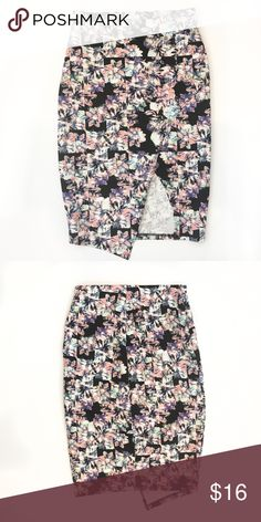 "High-Waisted Fitted Pencil Skirt Black, white, pink, and purple floral printed faux-wrap skirt. Elastic waist. Very sexy and fitted! 21"" long, waist is 11"" when laid flat but is stretchy. This brand is from Macy's juniors. Great condition! Material Girl Skirts Mini"