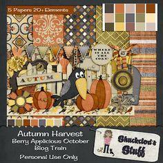 Scrapbooking Blog Train - October 2013, Berry Applicious, Autumn Harvest.  Lots of great digital scrapbooking freebies!