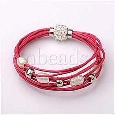 Coral Leather+Alloy Bracelets(BJEW-D265-1)