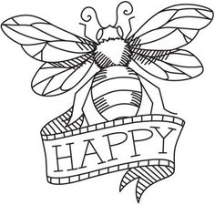 be happy - embroidery pattern
