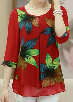 Blouses for women – Lady Dress Designs Beautiful Blouses, Beautiful Outfits, Blouse Patterns, Blouse Designs, Red Blouses, Blouses For Women, Hijab Fashion, Fashion Dresses, Sewing Blouses