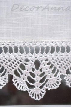 Diy Crafts - Crochet ecru curtain curtain with crochet lace by DecorAnna Crochet Edging Patterns, Crochet Lace Edging, Crochet Borders, Filet Crochet, Crochet Trim, Crochet Doilies, Crochet Stitches, Knit Crochet, Crochet Curtains