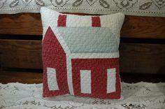 Antique Patriotic Early Red Cotton School House Quilt Pillow 10 x 12 Dubbie-du #NaivePrimitive #PrimitiveEwe