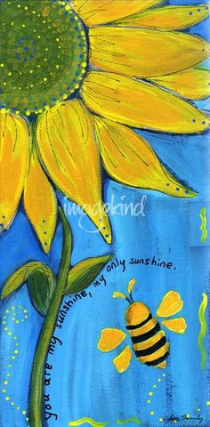 """Are My Sunshine"""" by Lee Owenby, Paris, Tennessee // Golden sunflower on a field of blue with a friendly bumble bee. // -- Buy stunning fine art prints, framed prints and canvas prints directly from independent working artists and photog Images Alphabet, Wal Art, Wine And Canvas, Arte Floral, Pics Art, Easy Paintings, Canvas Art, Canvas Prints, Painting Canvas"""