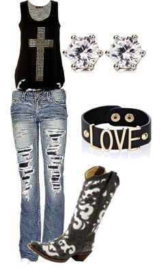 minus the ripped jeans and the cross on that nice black tank top this outfit would be awesome.