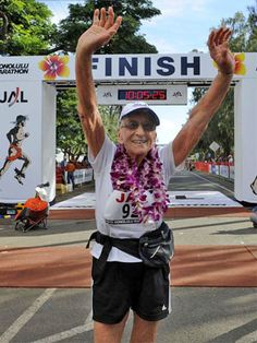 How inspiring!!! This 92-year-old Hawaii resident finished the December 2010 race with a time of 9 hours and 53 minutes. Amazing!