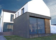 We have built many houses under planning NI getting planning permission and building control approval. Certified Passive house and zero carbon house Scandinavian Architecture, Farmhouse Architecture, House Roof, Facade House, House Facades, Rendered Houses, Sutton House, 3 Storey House Design, House Cladding