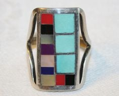ZUNI 925 STERLING TURQUOISE CORAL MOP ONYX LAPIS INLAY RING SIGN R LATONE SZ 6.5