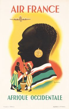 Great Original 1940s AIR FRANCE Travel Poster Africa