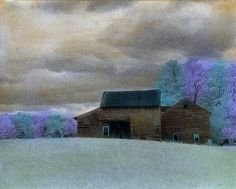 Barns in Springtime: Elizabeth Holmes: Infrared, Hand Painted Photograph
