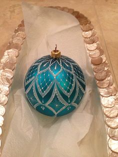 Hand painted Lace Christmas Ornament Turquoise color.