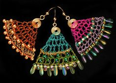 Crocheted wire beaded earrings I hope to figure out and recreate...and modify for other things... More wire crochet earrings at my shop http://www.yooladesign.com/collections/wire-crochet-jewelry
