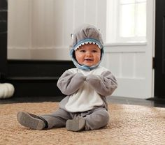Shop baby Halloween costumes that you will love at Pottery Barn Kids. Celebrate their first Halloween with a cute baby costume. Funny Baby Costumes, Shark Costumes, Family Costumes, Shark Halloween Costume, Photo Halloween, Halloween Ideas, Halloween Rocks, Halloween Projects, Carnival
