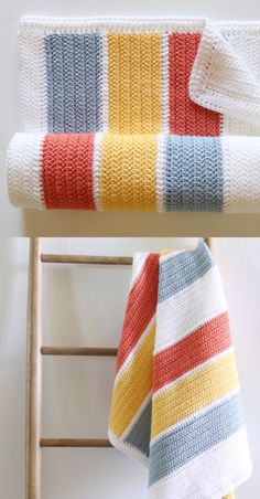 Most current Pictures striped Crochet Blanket Thoughts Free Crochet Pattern – Summertime Stripes Baby Blanket Modern Crochet, Diy Crochet, Crochet Crafts, Crochet Baby, Crochet Projects, Crotchet, Striped Crochet Blanket, Crochet Blanket Patterns, Knitting Patterns