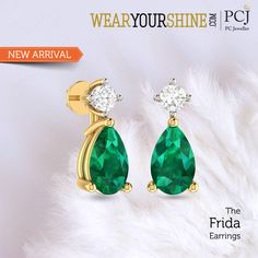 "Go green this monsoon while you happily flaunt ""The Frida Earrings""  #Earrings #InstaJewellery #Jewellery #jewelry #PCJeweller #WearYourShine"