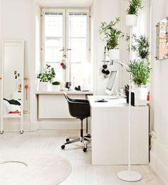 White, home office.