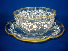 J&L LOBMEYR GLASS ENAMEL & GILT ART NOUVEAU BOWL & PLATE.