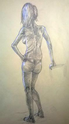 Modella, disegno dal vero, matita - Model, life drawing, pencil