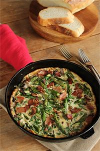 Dominique Rizzo. Bacon, Asparagus and Parmesan frittata