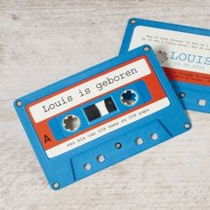Muzikale cassette kaartje Cassette, Baby Birth, Bar Mitzvah, Our Baby, Mom And Dad, Invitations, Children, Retro, Cards