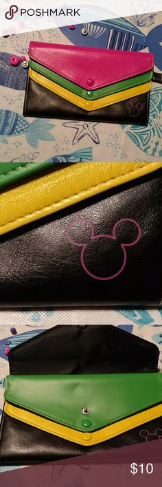 Mickey 3-Layer Wallet/Wristlet Triple layered wallet with triple envelope snap closures and wrist loop. Soft faux leather. Disney Accessories Bags