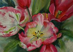 """Coming and Going (Pink Parrot Tulips) by Julia Watson Oil ~ 5 x 7"""""""