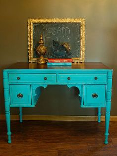 vintage turquoise chalkpainted desk, chalk paint, painted furniture, repurposing upcycling