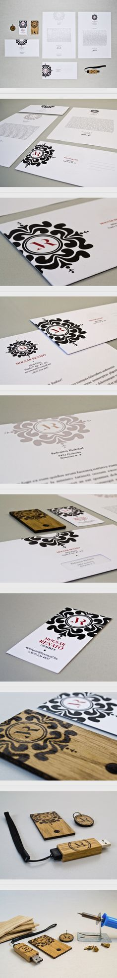 Stationary design - great use of black and white. I like the vintage detail and reference to a stamp / wax seal.