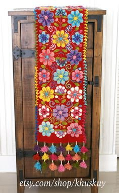 Table Bed runner embroidered Peru Red Alpaca wool handmade
