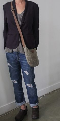 I would love this look if the jeans didn't have the holes... They look too intentional, not like real wear & tear.