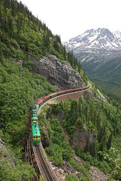The historic White Pass and Yukon Route. This narrow gauge railroad is an International Historic Civil Engineering Landmark.