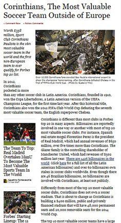 Sport Club Corinthians Paulista - Corinthians, The Most Valuable Soccer Team Outside of Europe - Corinthians é novamente destaque na Forbes