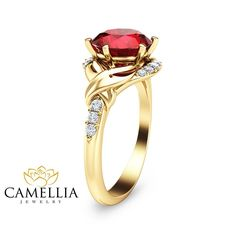 2ct Ruby Wedding Engagement Ring 14K Yellow Gold Engagement Ring Natural Ruby Ring Now on Sale for Only: $4490.00 Don't Miss This amazing deal! You can see more info about this item here: https://www.camelliarts.com/products/an-0001a?utm_campaign=outfy_sm_1501561812_576&utm_medium=socialmedia_post&utm_source=pinterest #UniqueEngagement #RubyEngagementRing #DiamondWeddingBand #jewelry #GemstoneRing #RubyDiamondRing #GemstoneEngagement #DiamondWeddingRing #ring #RubyGoldRing #YellowGoldRuby…