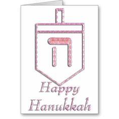 Pink Dreidel Happy Hanukkah Greeting Card 2