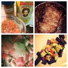Yum&fun cooking this cinnamon steak & avocado/cucumber salad... Exploring another #whole30 recipe.  So good!!