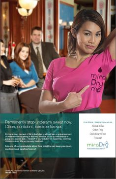 Don't be embarrassed by your excessive under arm sweat, MiraDry can help! #Sweat #Woodlands #Texas #MedicalSpa