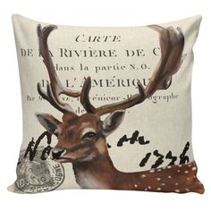 Christmas Pillow Throw Pillow Cover French Vintage Autumn Fall Deer Neutral Background Burlap & Cotton Home Decor AN-96 by ElliottHeathDesigns on Etsy