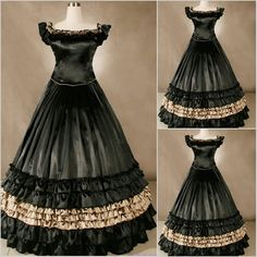 Black Gothic Lolita Southern Belle Ball Gown Wedding Prom Dresses Cosplay Costume  SKU-301027
