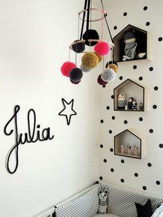 Nombres de lana y alambre, inspiración: nombres, letras, frases o figuras realizadas con lana y alambre para decorar las habitaciones infantiles.